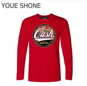New Coming Vintage Mens magliette online 1955 Johnny Cash Casual Rock N Roll t-shirt manica lunga magliette da uomo Retro tshirt polo T-shirt
