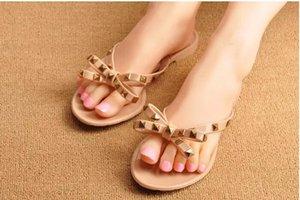 2021 Plastic Flat Women's Shoe Flip Flops Beach Casual Cute Soft Hot Girls Slides Pretty Rivet Selling Slippers Fashion Size 40 41 Blac Ofev
