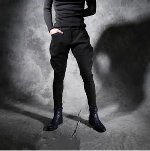 New Outono inverno espessamento personalidade Magro calça casual dos homens Boate hairstylist trecho calças Harlan calças Dos Homens culatras