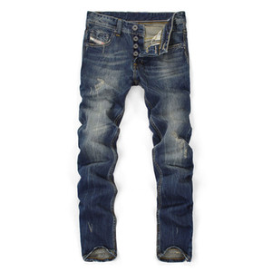 Fashion high quality Jeans Men Straight Dark Blue Color Printed Mens skinny pants Ripped Jeans Cotton