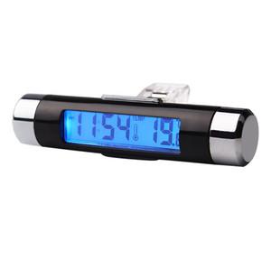 2 em 1 Air Vent Outlet Car Clock Termômetro Azul Backlight Car Styling Auto Acessórios Car Digital Tempo Display LCD para veículo