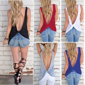 2018 Summer New Fashion Women Fashion Sexy Backless Sleeveless Cross Cotton T Shirt 9 Colors Size S-3XL