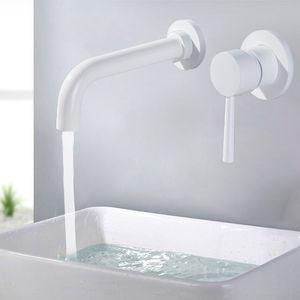 النحاس جدار حوض خلاط صنبور بالوعة الحمام الحنفية دوارة صنبور حمام الحنفية واحدة ليفر مرحاض بالوعة خلاط رافعة بيضاء