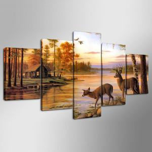 HD Imprimé Peinture Toile Salle D'impression Décoration 5 Panneaux Animal Cerf Moderne Affiche Modulaire Photos Toile Art