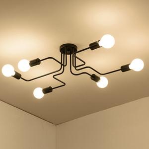 4/6/8 teste asta multipla luce di soffitto in ferro battuto retrò industriale loft lampada della cupola nordica per la decorazione domestica dinning cafe bar 110 v-240 v