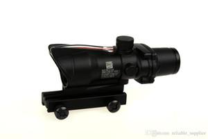 Trijicon 4x32 ACOG Stil Optik Taktik Kapsam Gerçek Fiber Optik Kırmızı Crosshair kaplama Avcılık Için Weaver Riflescopes Savaş Gunsight