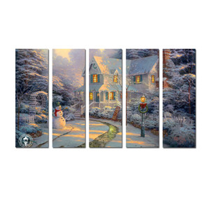 Large 5 Panel Modern Giclee Print Painting Thomas Kinkade Landscape Oil Painting Canvas Art Wall picture for Living Room Home Decor Tms029