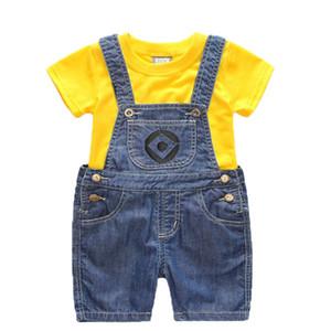 Мальчики девочки набор детские джинсовые шорты / длинный костюм Детская одежда футболка и 2шт Миньоны одежда 1-6 лет
