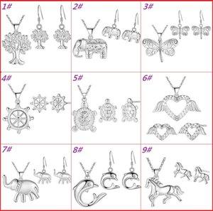 Moda Feminina Conjuntos de Jóias 925 Banhado A Prata Boa Sorte Elefante / Cavalo / Golfinho / Árvore da Vida Brincos Colar Conjunto Declaração de Casamento Jóias