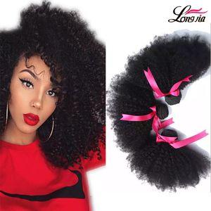 Longjia Hair Products 7A beste Qualität mongolischen Afro verworrenes lockiges reines Haar 3pcs viel Mongolian Afro verworrenes lockiges Jungfrau-Menschenhaar spinnt