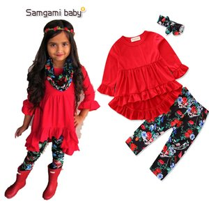 2Pcs Set newborn baby girls clothing sets Baby Girls Christmas Printed New Clothes Dress+ruffled pants Tops Legging 2pcs Outfits