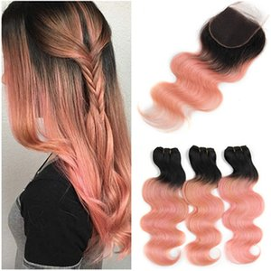 # 1B / Rose Gold Ombre Virgin Peruanisches Haar 3 Bundles Angebote mit Verschluss Körperwelle Ombre Pink Menschenhaar spinnt mit 4x4 Lace Closure