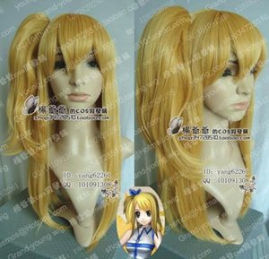 Fairy Tail Cosplay Long Lucy Blonde Wig Clip Ponytails