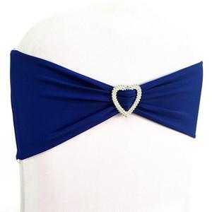 50 unids Royal Blue Lycra Stretch Wedding Chair Bow Sash Elástico Spandex Chair Band Con Corazón Hebilla Para Evento de Hotel Boda