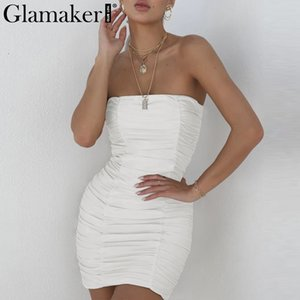 Glamaker Pleated Bodycon trägerloses sexy Kleid Frauen Fitness elegante weiße Strandkleid Wrap Party Club Sommer 2018 Vestidos