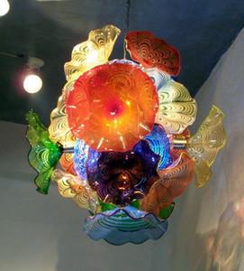 لوحات الكلاسيكية زهرة الثريا ضوء دايل نمط زجاج مورانو قلادة مصابيح LED متعدد الألوان الزجاج المنفوخ الثريا الإضاءة