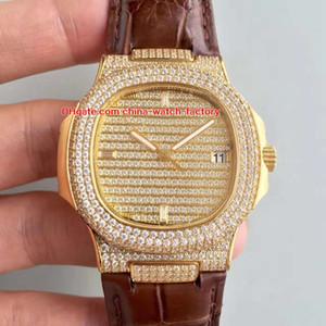 3 colores La mejor calidad 40.5 mm Nautilus 5719 / 1G-001 Top de cuero de bisel de diamante completo CAL.9015 324 S C Movimiento automático Relojes para hombre Relojes