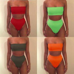 Mulheres S Bikini Swimsuit Femme Maiôs Natação Boob Tubo Top Beach Lady Swimwear Cintura Alta Duas Peças Set 6wj