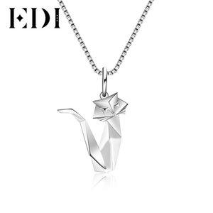 EDI прекрасный Pet Cat Anmial 100% стерлингового серебра 925 ожерелья подвески для женщин милый стиль складной тонкой JewelryY1882803