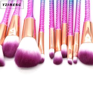 10pcs paon main sirène pinceau spirale maquillage pinceau crème visage puissance brosses polyvalent beauté cosmétique