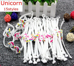 Unicorn Estilo Pulseiras Crianças Adulto Pulseira Unicorn Party Favors Supplies Meninas PVC Emoticon borracha Prêmios presente Brinquedos