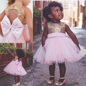 2020 Vintage oro paillettes Flower Girls 'Dresse rosa Tull bambino neonato bambino Battesimo vestiti Flower Girl Abiti pizzo tutu abiti di sfera economici