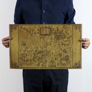 Harry Potter of Büyücü Dünya Haritası Haritası Posteri Film 72x46 cm Klasik Posteri Vintage Retro Kağıt Zanaat Duvar Çıkartmaları Posteri
