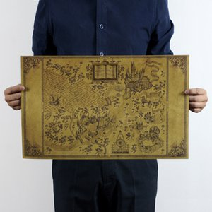 % Mapa del Mundo Mágico de Harry Potter Póster Película 72x46 cm Póster Clásico Vintage Retro Papel Artesanal Pegatinas de Pared Póster