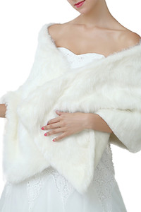 Winter Wedding Bridal Faux Fur Wraps Warm shawls Outerwear Women Jackets For Prom Evening Party CPA1495