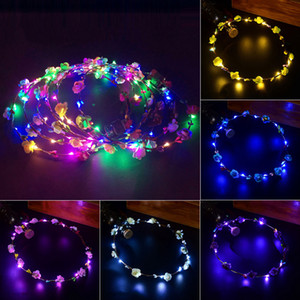Wedding Party LED Glow Flower Crown Fasce Crown Floral Halo Garland Matrimonio Wedding Copricapo LED Fiori Cappelli 100 pezzi / lotto