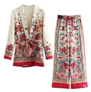 moda europeia novo design retro férias casaco de manga longa faixas flor impressão blazer das mulheres e das pernas longas calças largas twinset terno ocasional