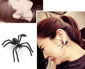 1pc stile punk Black Spider Ear Stud Orecchini di esagerazione di Halloween Orecchini Gioielli di moda animale creativo dell'orecchio per le donne Orecchini