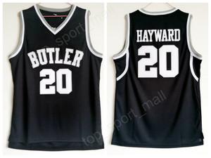 Alta calidad Gordon Hayward Butler Bulldogs Jerseys 20 Hombres de color negro Baloncesto College Gordon Hayward Jersey uniforme deportivo Envío gratis