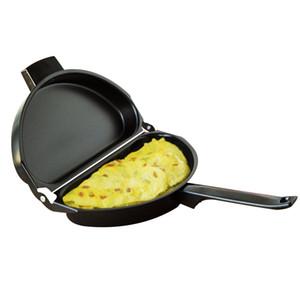 Design unico antiaderente pieghevole frittata cottura padella a mano in acciaio inox doppio lato griglia padella 28.5 * 24 cm padelle per esterni