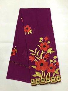 5 야드 / pc 멋진 보라색 아프리카 코 튼 원단과 좋은 꽃 자 수 swiss voile 레이스 옷 JC9-2