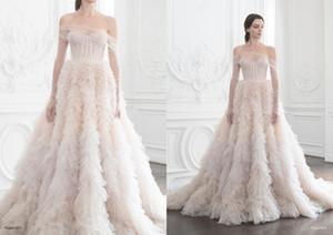 Blush Pink Paolo Sebastian Prom Dresses fuera de la ilusión de hombro con volantes de manga larga vestido formal fiesta de ropa de barrido vestidos de noche