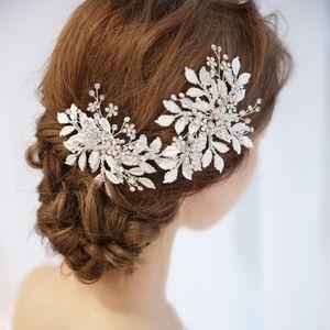 Charming Silver Leaf Hair Piece Bridal Vine Tiara 크리스탈 웨딩 액세서리 헤어 크라운 수제 여성 쥬얼리