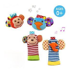 60pcs/много=15 наборов с изображением животных младенцев Baby запястье погремушка ноги Искатель носки обезьяна и слон развивающие игрушки набор замечательный подарок ребенку