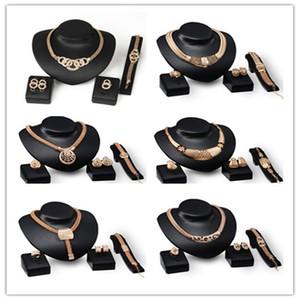 Kadınlar Kristal Düğün Takı Setleri 6 Tasarımlar İçin En Kalite 18K altın kaplama Chunky Zincir Bildirimi Kolye Küpe Bileklik Yüzük Seti