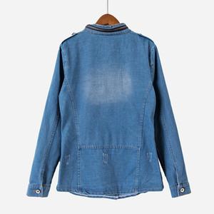 Vintage 2017 Giacca di jeans autunno / caduta donne strappato foro di tasca di disegno blu sottile della vita Jeans Giacche Cappotti Cappotti T75901J