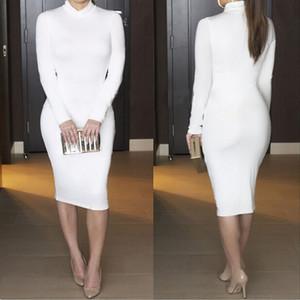 S M L XL XXL сексуальный клуб с длинным рукавом зима белое платье водолазка черный толстый теплый Vestidos повседневная повязка Bodycon платья партии 8046