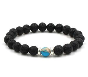 8mm Lava Stein Mala Ätherisches Öl Diffusor Schutz Energy Healing Stretch Armband DIY Schmuck Männer Frauen Stretch Yoga Handgemachte Armbänder