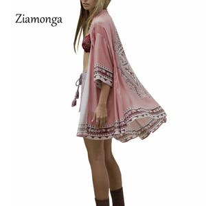 Ziamonga Japonais Kimono D'été Femmes Cardigan Totem Imprimé Chemise De Plage Sun Protection Vêtements Kimono Cardigan Femmes Survêtement
