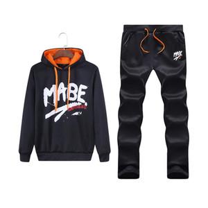 New Treino Homens Outono Two Piece Define Cotton Inner do velo do alfabeto Casual impressão Hoodie + calça esporte terno ternos masculino Sweat Men
