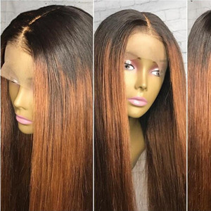130% Density Ombre Color Lace Front Human Hair Wigs with Baby Hair Pre-Plucked Hairline Remy Indian Hair Glueless Wigs