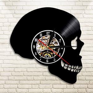 Reloj de pared 1piece Handcarved récord de azúcar cráneo LED Hippie Cráneo Día del reloj de pared de Todos los Santos Decoración regalo de Halloween
