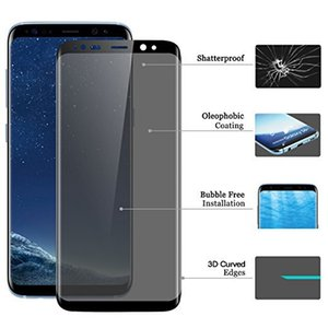 Vetro temperato Privacy curvo 3D per Samsung Note 9 S10 Plus Bordo S7 Protezione antipioggia S8 Plus S8 Plus con pacchetto di vendita al dettaglio