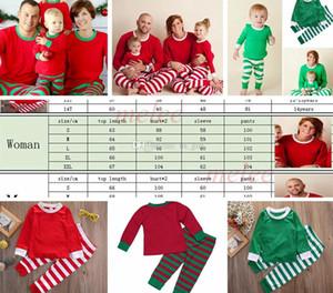 Noel INS Çocuklar Yetişkin Kırmızı Yeşil beyaz Aile Eşleşen Noel Geyik Çizgili Pijama Pijama Gecelik Pijama bedgown sleepcoat gecelik PJS