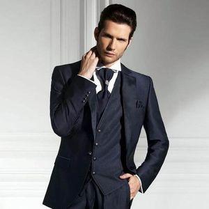 Navy Blue Men свадебных костюмы итальянского Groom Tuxedos Slim Fit Groomsmen костюм Forml Бизнес одежда Жених Пиджаки Мужские костюмы онлайн 3 шт