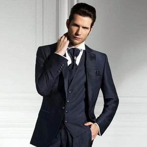Azul Homens Navy Ternos de casamento italiano Noivo Smoking Slim Fit Groomsmen Suit Forml negócio Vista Noivo Blazers Men Suits on-line de 3 peças